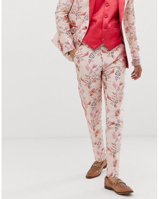 ASOS Skinny Suit Pants In Pink Floral Jacquard With Side Stripe for men