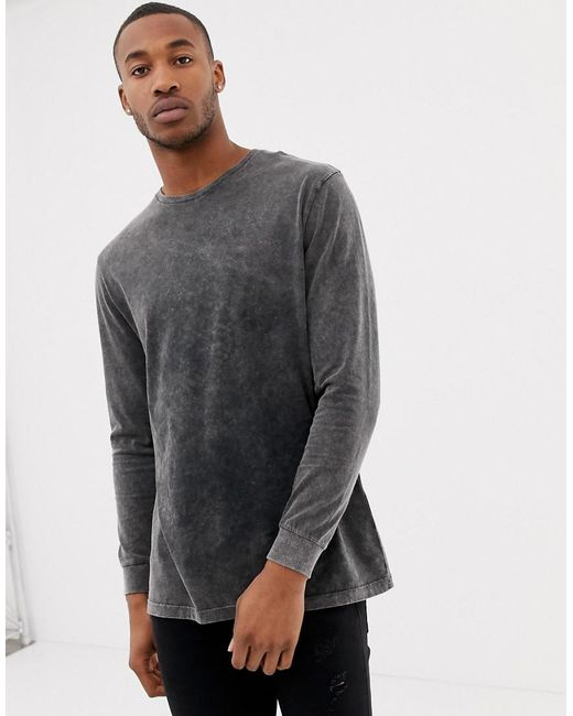 ccfce5b9aa0787 ASOS - Gray Relaxed Longline Long Sleeve T-shirt In Acid Wash for Men ...