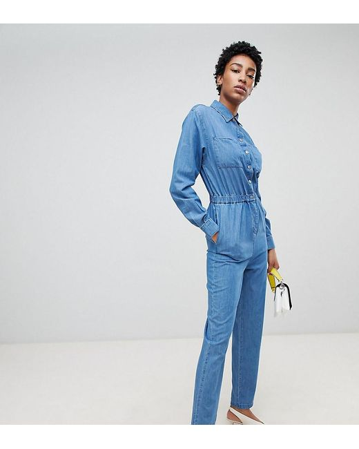 ASOS - Asos Design Tall Denim Utility Jumpsuit In Blue - Lyst