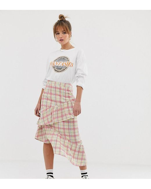 Glamorous - White Midi Skirt With Ruffle In Grid Check - Lyst
