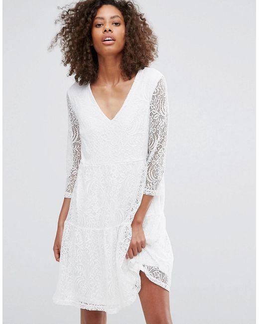 Vila | White Lace Skater Dress | Lyst