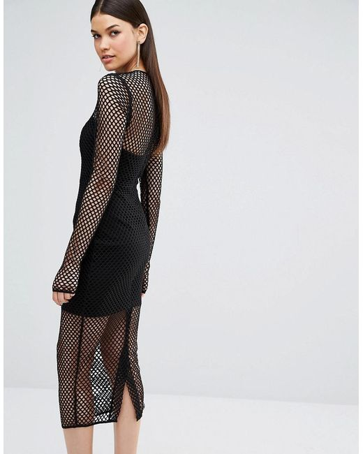TTYA Black Atlanta Long Sleeve Mesh Detail Slim Midi Dress - Black Taller Than Your Average 5dwARObD