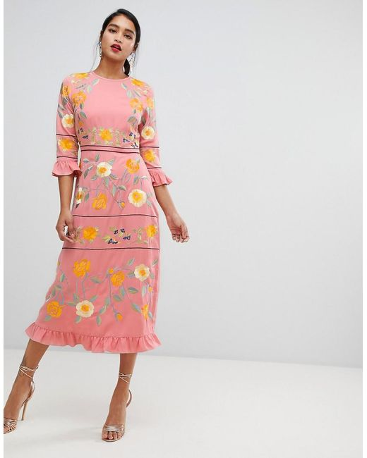 02dd8d603d4 ASOS - Pink Embroidered Midi Dress With Frill Cuff And Sleeves - Lyst ...
