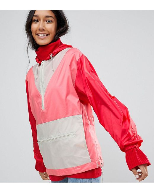 ASOS - Red Over The Head Rainmac In Colourblock - Lyst
