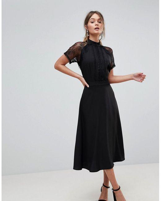 Liquorish - Black A Line Lace Detail Midi Dress - Lyst