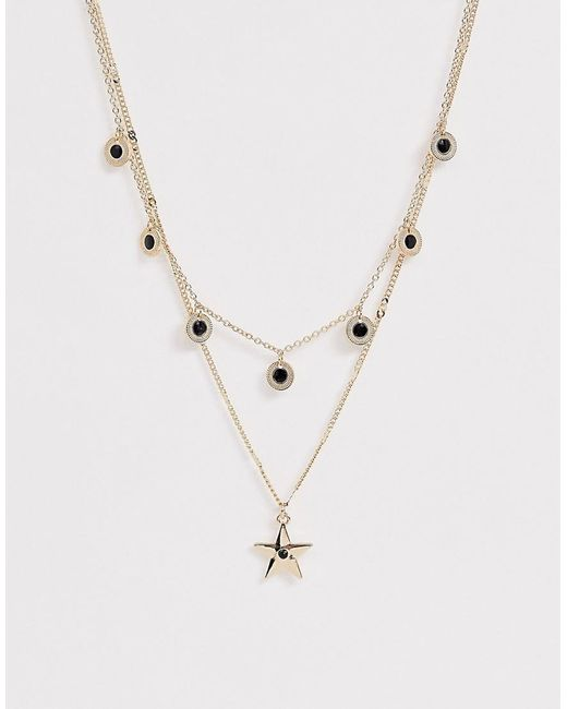 ASOS Metallic Multirow Necklace With Stone Disc Charms And Star Pendant In Gold Tone