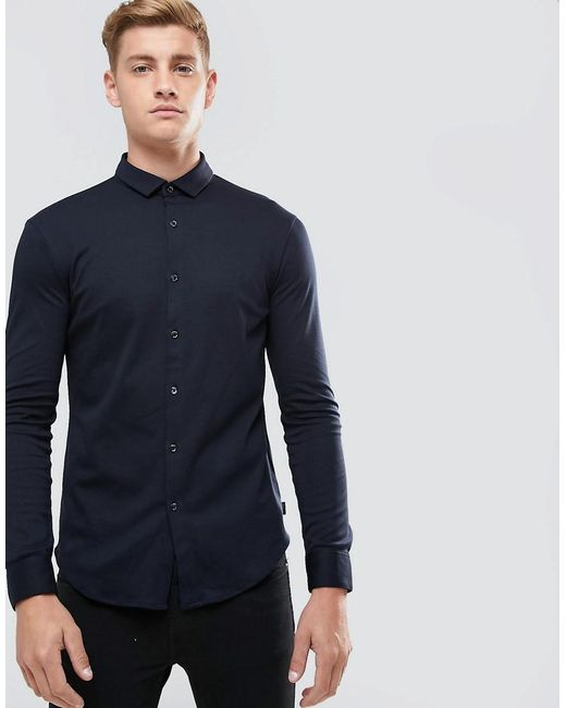 Armani Jeans | Blue Slim Fit Mercerised Jersey Shirt Navy for Men | Lyst