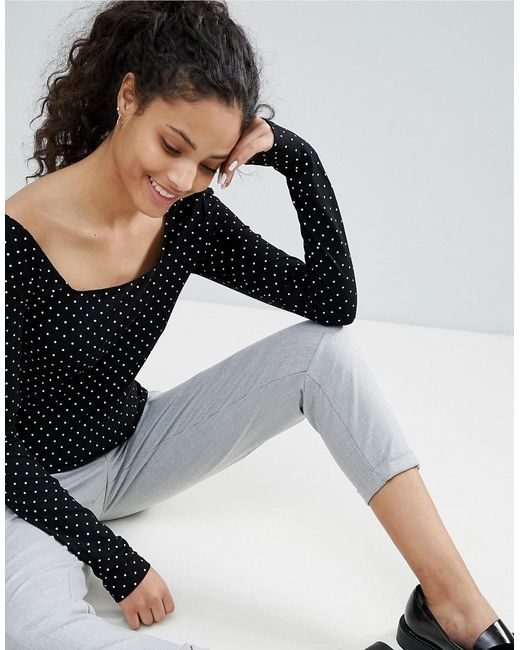 Discount Visa Payment Square Neck Polka Dot Long Sleeve Tee - Black Bershka Buy Cheap Big Discount Cheap New Styles Outlet Amazing Price Pay With Visa For Sale dpBF3