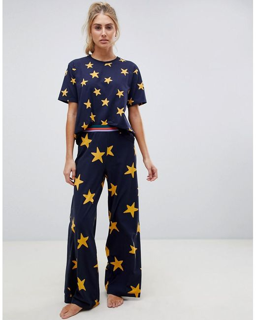 ac4dfa577d8a6 ASOS - Blue Star Top And Wide Leg Pyjama With Contrast Elastic - Lyst ...