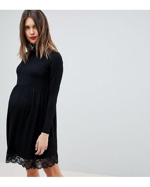 74deee21c311 ASOS - Black Turtleneck Skater Dress With Lace Hem - Lyst ...