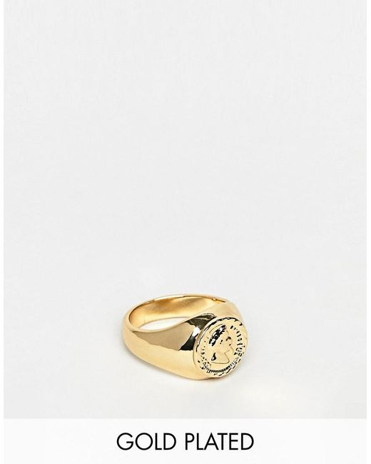 ASOS - Metallic Gold Plated Coin Sovereign Ring for Men - Lyst