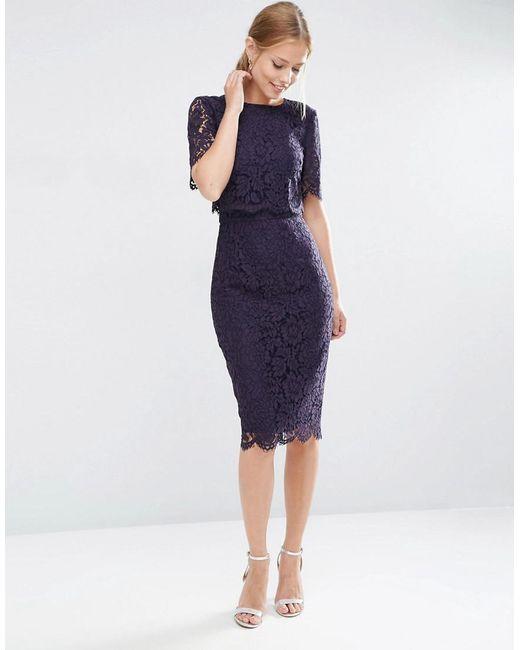 ASOS | Blue Lace Crop Top Midi Pencil Dress | Lyst