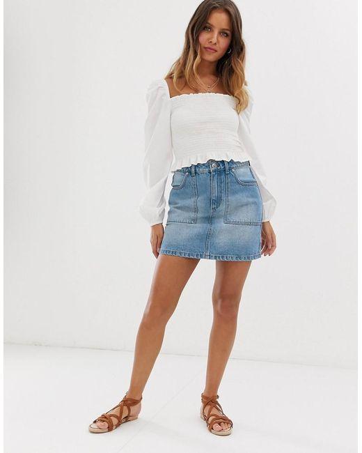 7030b835a Miss Selfridge - Blue Denim Skirt With Cargo Pockets In Mid Wash - Lyst ...