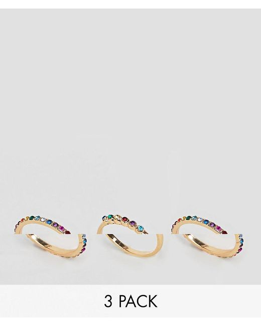 ASOS - Metallic Asos Design Curve Exclusive Pack Of 3 Rings With Multicolour Jewels In Gold - Lyst