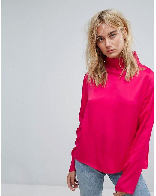 Weekday - Pink Slinky High Neck Shirt - Lyst