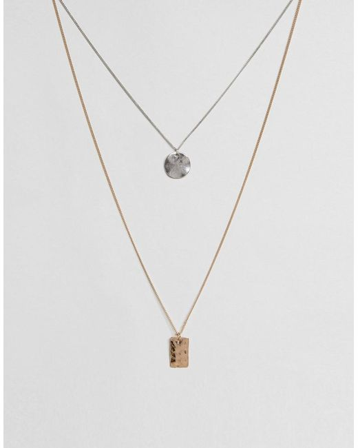 ASOS   Metallic Geometric Necklace Pack for Men   Lyst