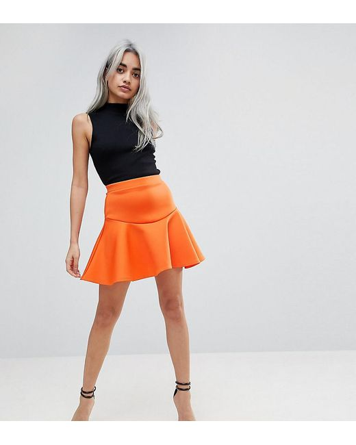 ASOS | Orange Scuba Mini Skirt With Frill | Lyst