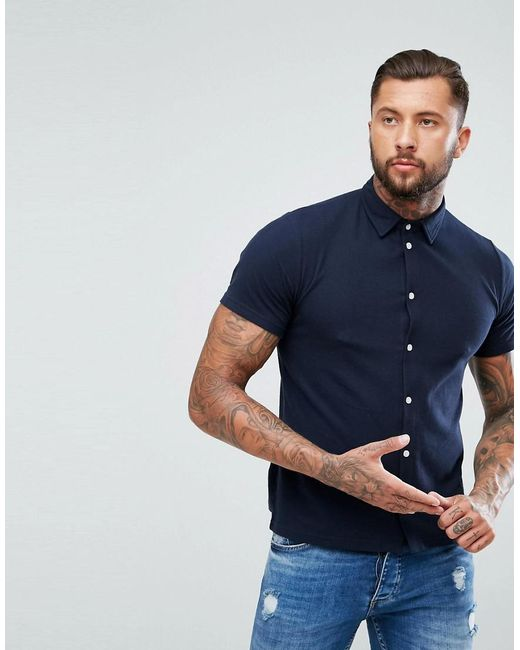 Boohoo - Blue Regular Fit Shirt With Short Sleeves In Navy for Men - Lyst