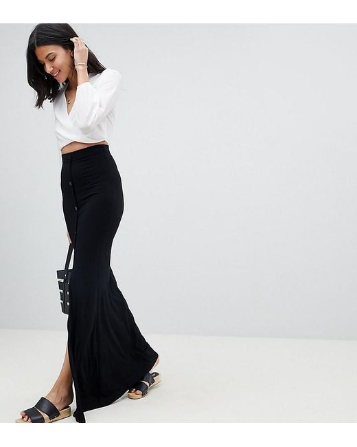 f856da633e06 ASOS - Black Asos Design Tall Maxi Skirt With Button Front And Split Detail  - Lyst ...