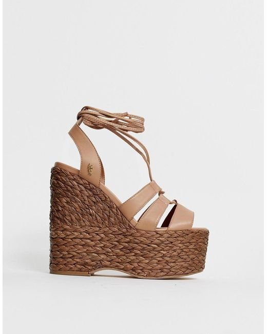 07b6665c1 Kurt Geiger - Natural Nova High Leather Wedge Espadrille Sandal - Lyst ...