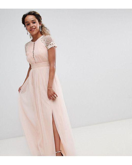 Lyst Little Mistress Embellished Bodice Maxi Dress In Pink