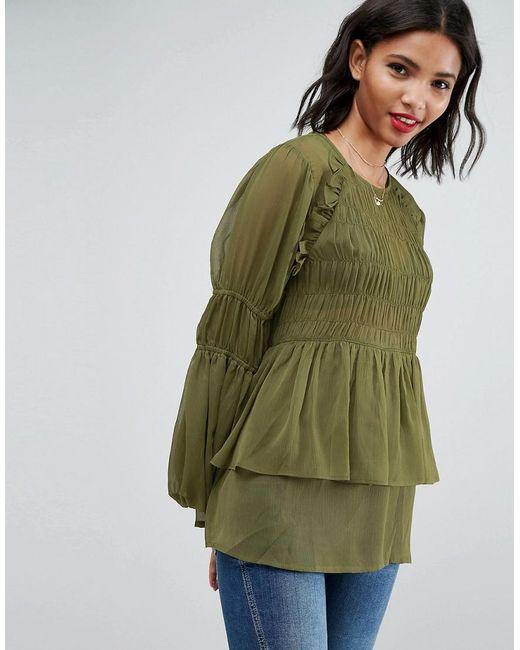 ASOS - Green Asos Sheer Crinkle Blouse With Poets Sleeve - Lyst