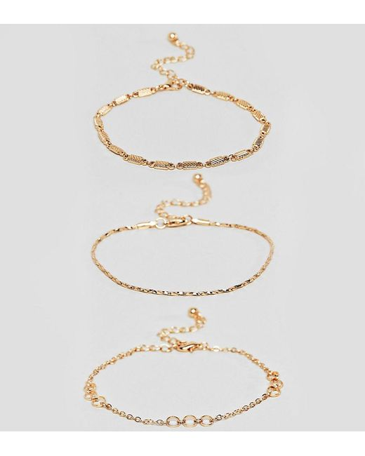 ASOS - Metallic Asos Design Curve Bracelet Pack Of 3 With Cut Link And Twist Chain Detail In Gold - Lyst