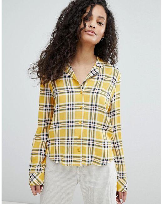Bershka - Yellow Check Print Blouse - Lyst