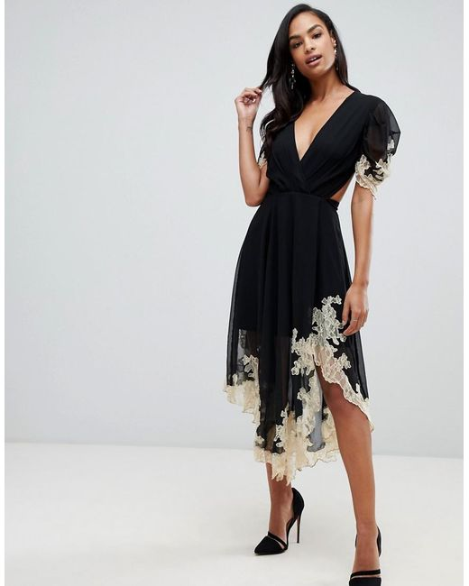 ASOS - Black Soft Midi Dress With Lace Inserts - Lyst