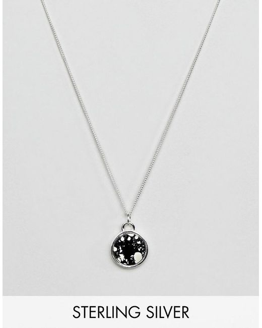 ASOS - Metallic Sterling Silver Necklace With Circular Stone Pendant for Men - Lyst