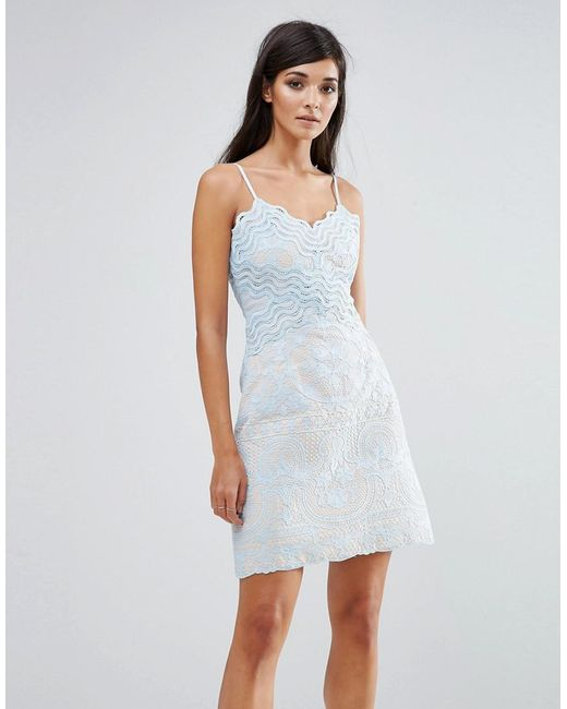 Aijek | Blue Lace Wiggle Mini Dress | Lyst