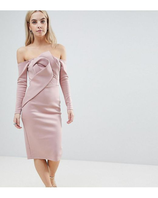 ASOS - Pink Long Sleeve Bandeau Origami Front Midi Dress - Lyst