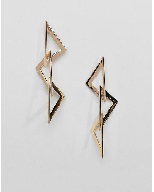 ASOS - Metallic Earrings In Linked Triangle Design In Gold - Lyst