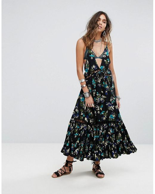 Free People | Black Pages Of Gold Maxi Dress | Lyst