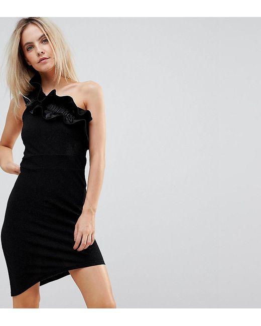 Vero Moda - Asymmetric Mini Dress In Black With Ruffle Shoulder - Lyst