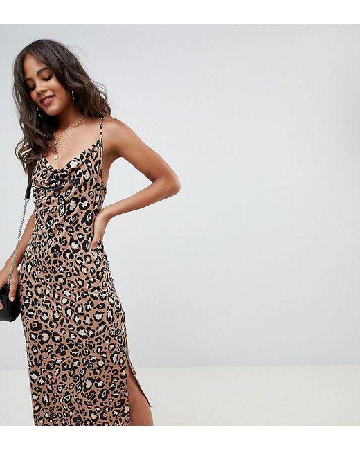 ASOS - Multicolor Asos Design Tall Cowl Front Midi Slip Dress In Leopard Print - Lyst