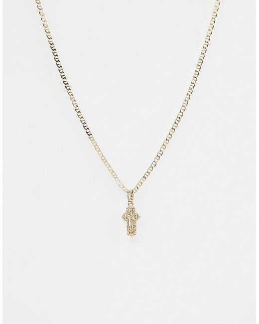 ASOS - Metallic Necklace With Vintage Style Icon Pendant With Crystal In Gold - Lyst