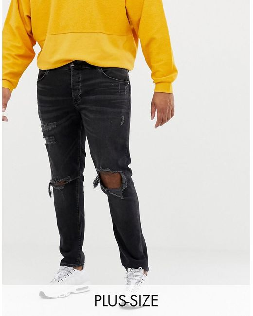 93ab8b15123 River Island - Big & Tall Skinny Jeans With Rips In Washed Black for Men ...