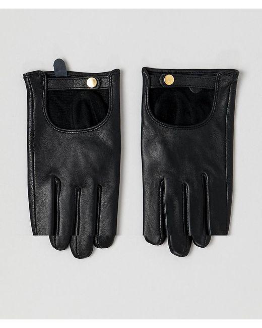 a990ce9c920099 ASOS - Black Schlichte Touchscreen-Handschuhe aus Leder - Lyst ...