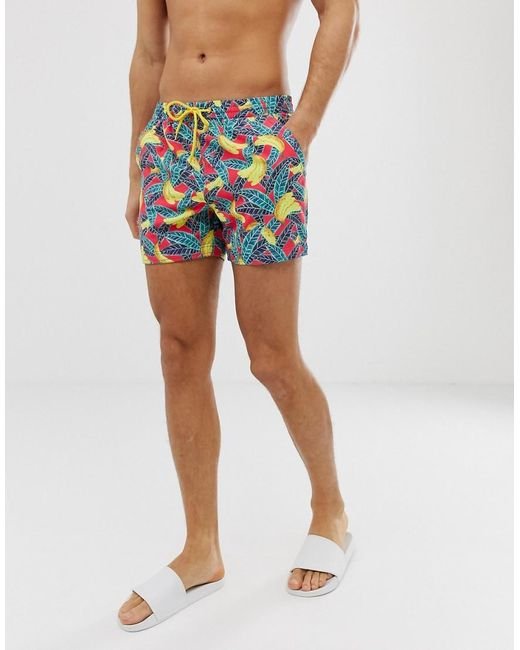 1e83713e7347a South Beach - Blue Recycled Swim Shorts In Banana Print for Men - Lyst ...
