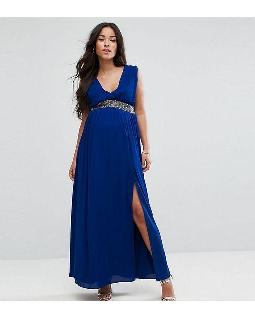 ASOS - Blue Embellished Waist Strap Back Maxi Dress - Lyst