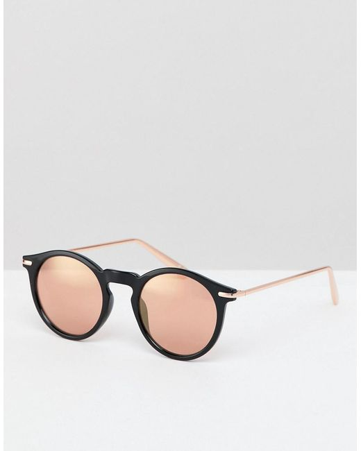 000e3c4ccdb7 ASOS - Round Sunglasses In Black With Rose Gold Mirrored Lens for Men -  Lyst ...