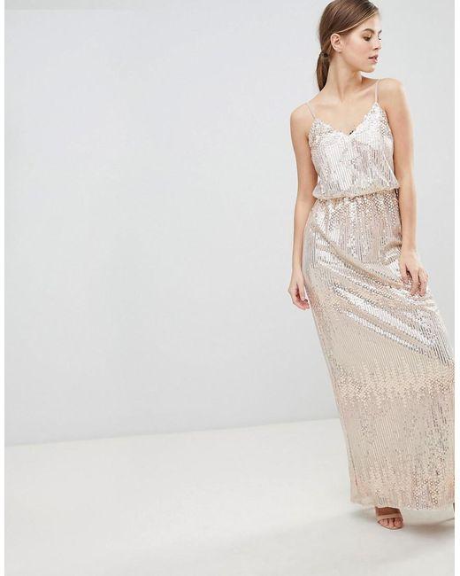 556ea03e2a6b Little Mistress - Pink Scatter Sequin Maxi Dress - Lyst ...