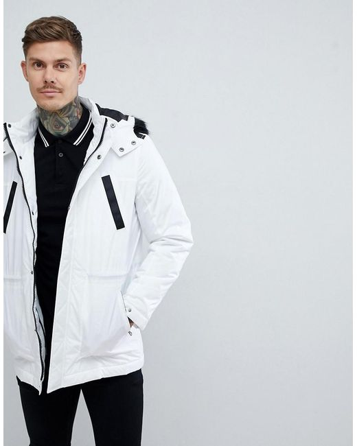 cb3c3024cf9 Lyst - ASOS Parka Jacket With Faux Fur Trim In White in White for Men