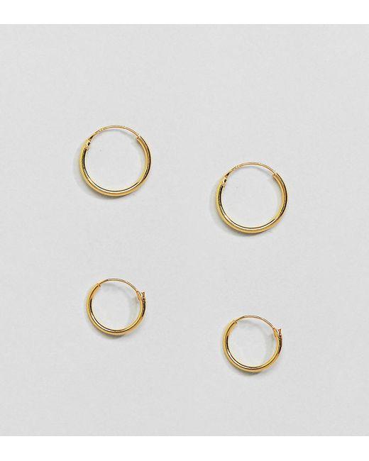 Lot de petites créoles en plaqué or en exclusivité Kingsley Ryan en coloris Metallic
