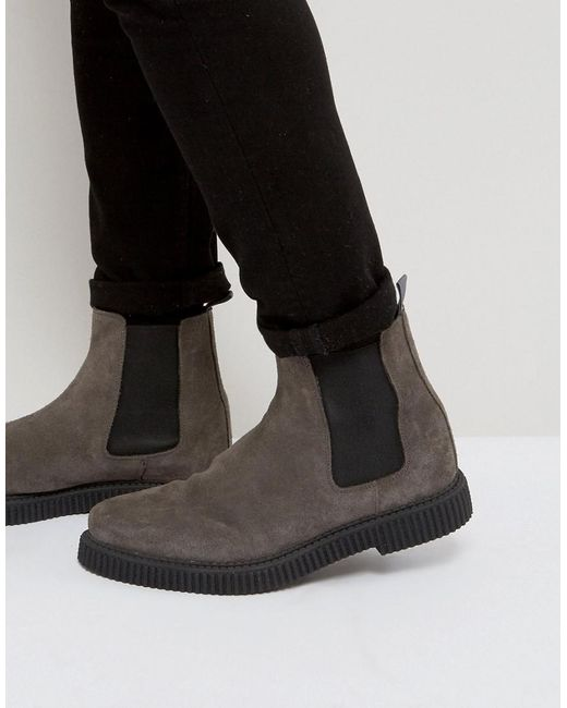 ASOS - Asos Chelsea Boots In Gray Suede With Creeper Sole for Men - Lyst