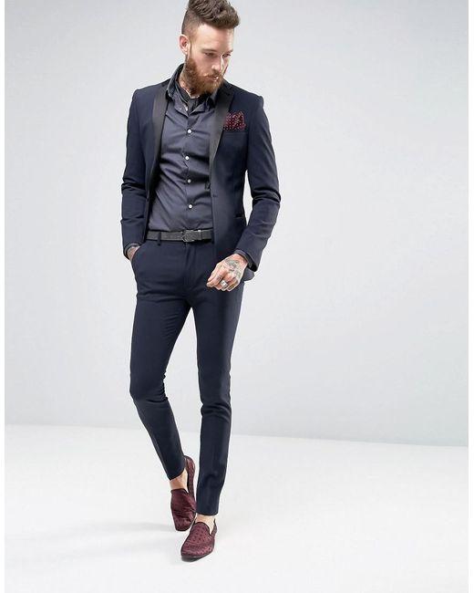Super Skinny Tuxedo Suit Trousers In Navy - Navy Asos SWshv