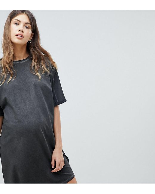 ASOS - Black Asos Design Maternity T-shirt Dress With Rolled Sleeves And Wash - Lyst
