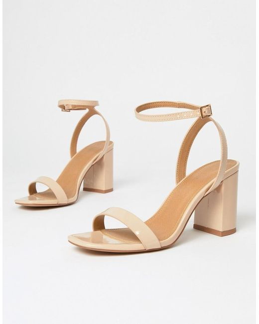 946bbc7c87 ... ASOS - Natural Hong Kong Barely There Block Heeled Sandals In Warm  Beige - Lyst
