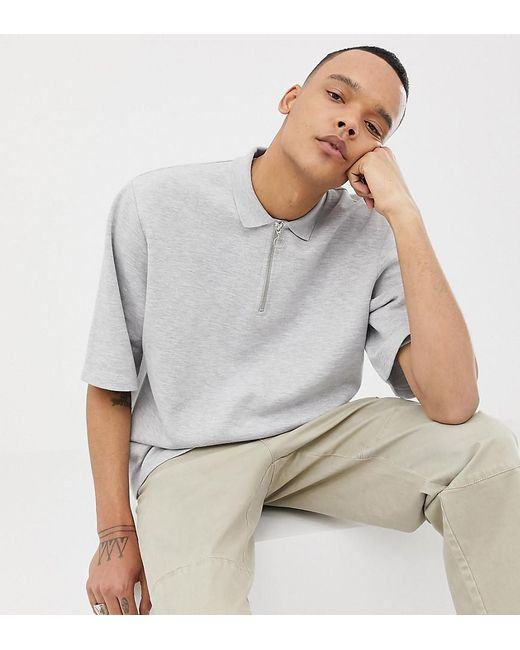 ASOS - Gray Tall Oversized Polo In Light Grey Marl Pique With Zip Neck for Men - Lyst